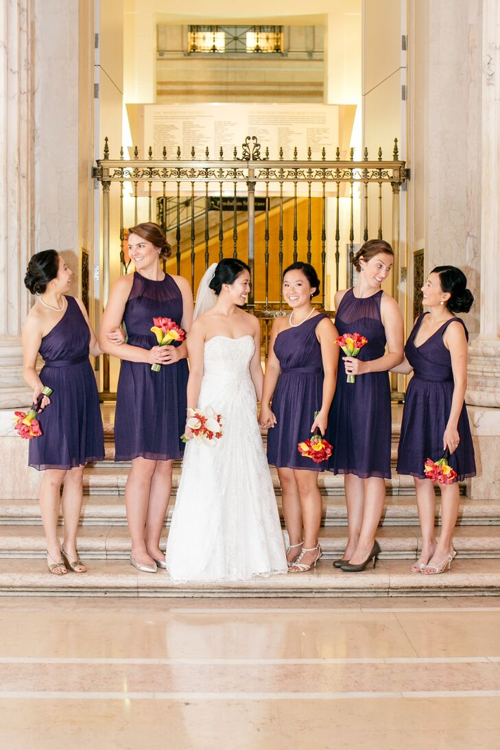 Purple J. Crew Bridesmaid Dresses