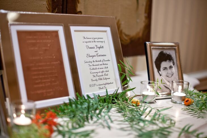 At the reception, displays with vintage family photos showcased the couple's families.