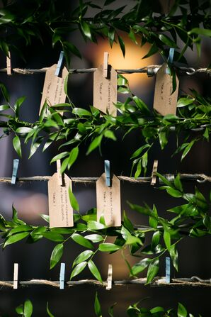Rustic Kraft Paper Escort Cards with Greenery