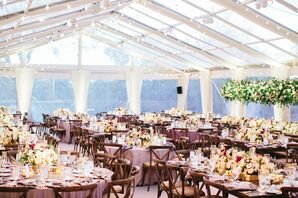 Tented Reception with Cross-Back Chairs and Purple Tablecloths