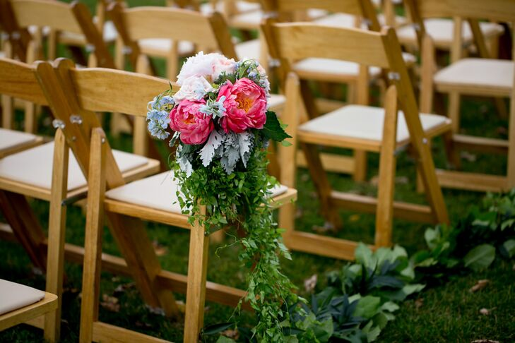 Peony, Dusty Miller and Cascading Greenery Aisle Decorations