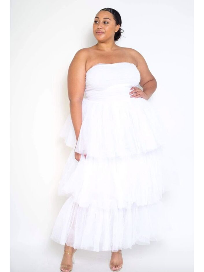 Strapless tiered tulle dress