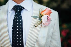 Peony and Rose Boutonniere, Patterned Menswear