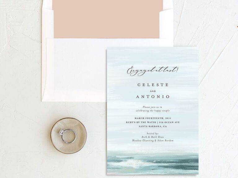 Stunning beach-inspired engagement party invitation