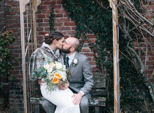 For their rustic, January wedding, high school sweethearts Gillian Graham (28, a psychiatric nurse practitioner) and Robin Sleith (29, a doctoral stud