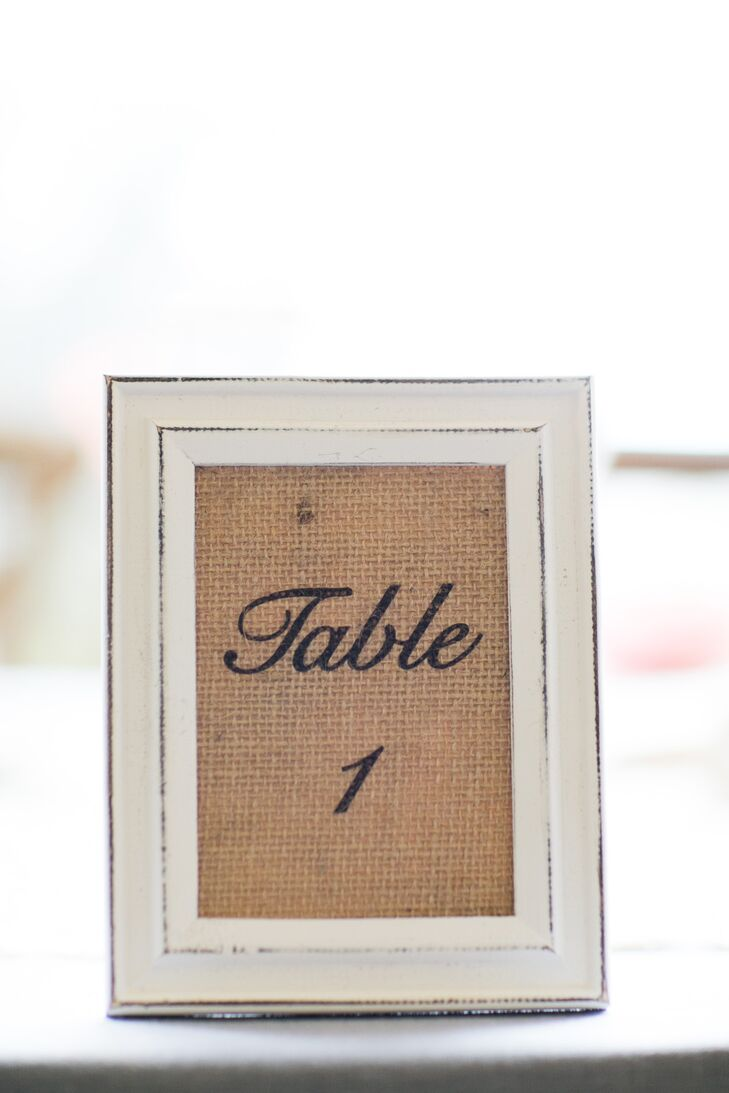 Framed Burlap Table Number