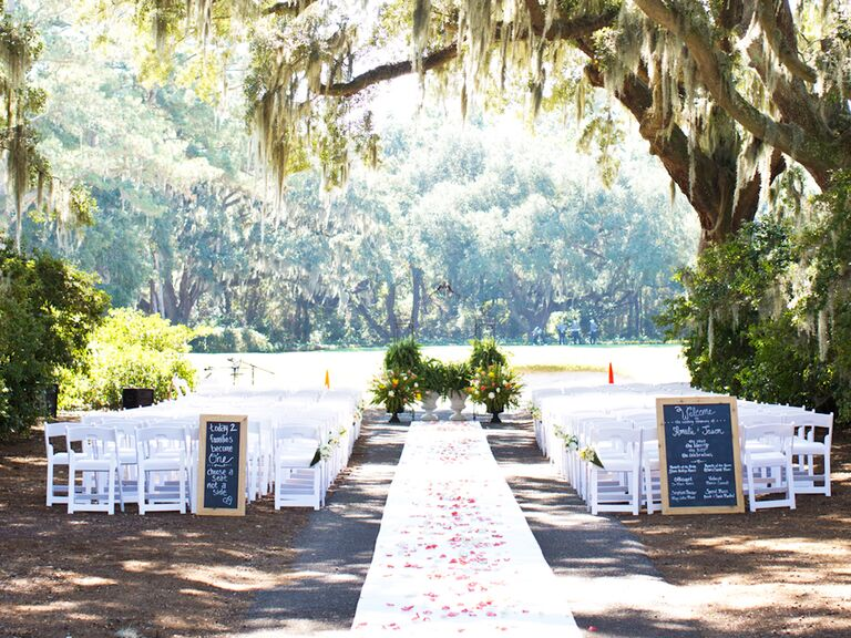 Aisle Runner Outdoor Elegant Wedding Under Moss Trees