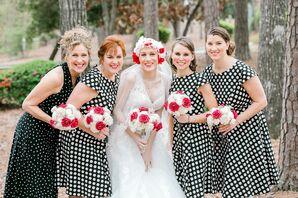 Black-and-White Polka-Dot Bridesmaid Dresses