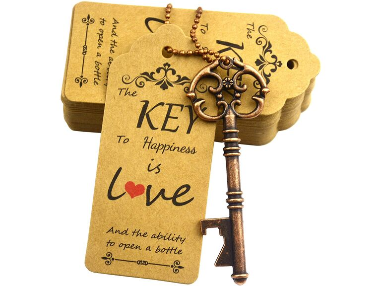 Antique key bottle opener with cute tag
