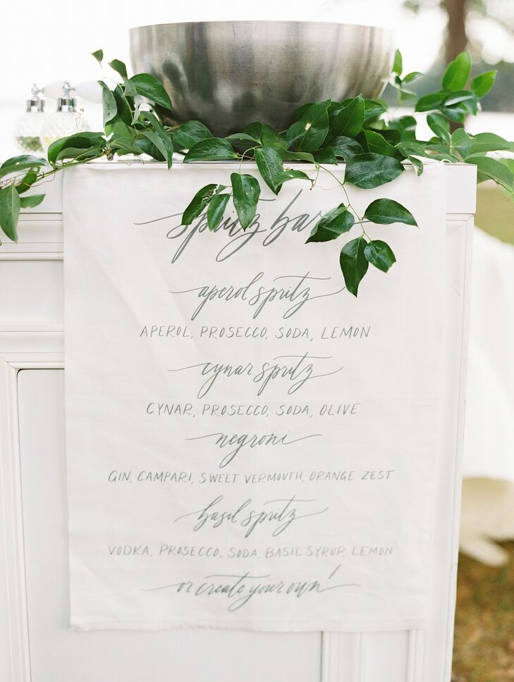 Linen Menu with Calligraphy at Wye River Estate Wedding