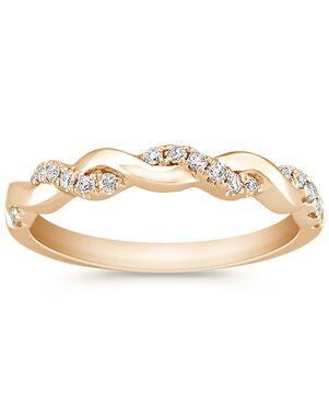 Shane Co. Infinity Diamond and 14k Yellow Gold Infinity Wedding Band Gold Wedding Ring