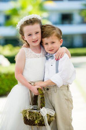 Cute Flower Girl and Ring Bearer at Destination Beach Wedding
