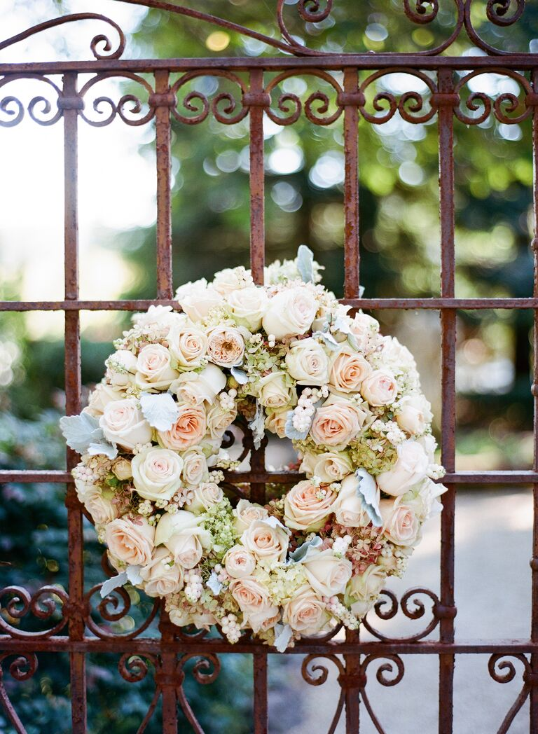 Wedding wreath at ceremony entrance