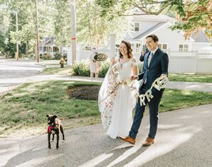 Couple Walking Dog During Backyard Minimony in Reading, Massachusetts