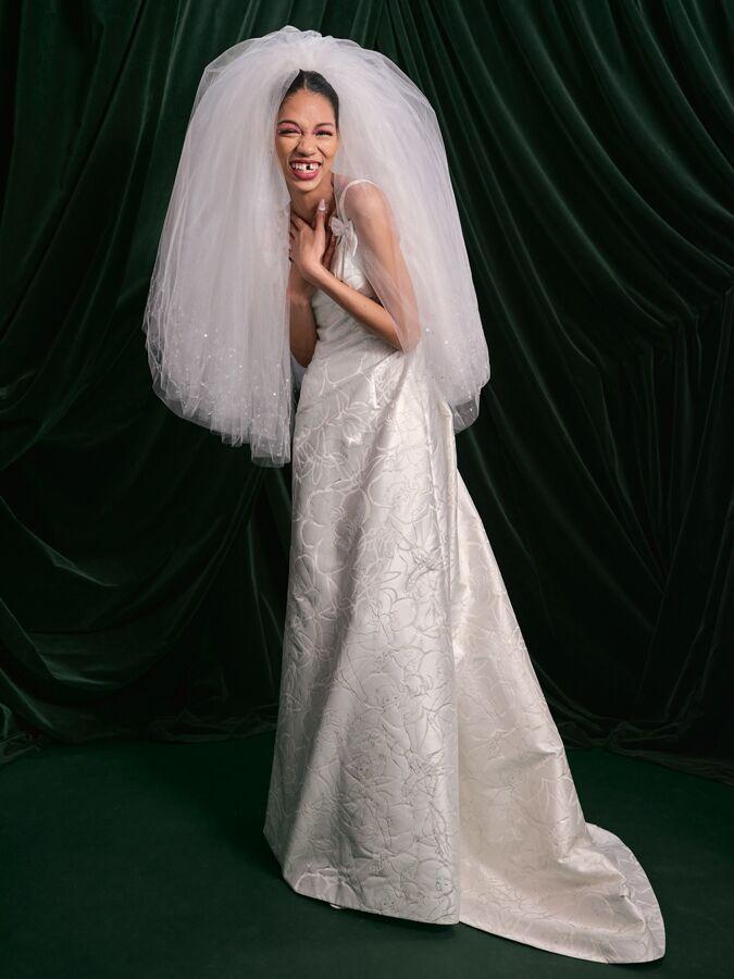 Wiederhoeft cherub jacquard wedding dress