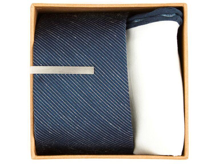 Tie bar, tie and pocket square groomsmen gift set