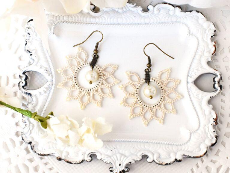 boho lace statement earrings