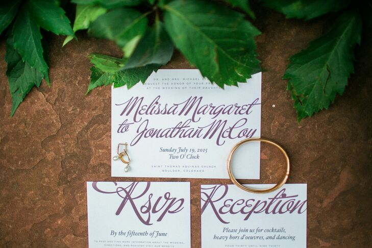 "Wanting beautiful invitations that wouldn't blow their budget, Melissa and Jonathan decided to shop around on Etsy for unique printable designs. ""We had the shop make it to our specifications, then we purchased bulk cream invitations and envelopes and printed them all ourselves one afternoon,"" says Melissa. The bride-to-be then addressed each invitation by hand herself."