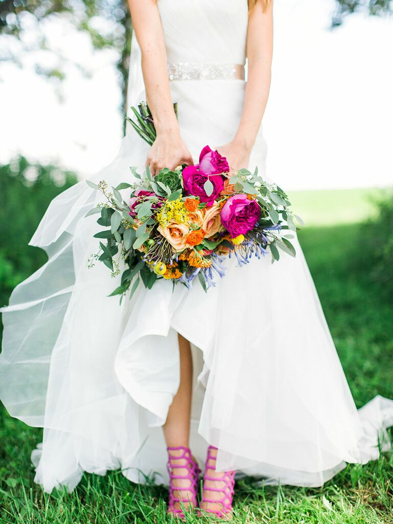 Wedding Dress with Pink Shoes