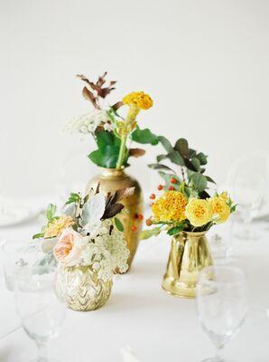 Yellow Flower Centerpiece in Metallic Bud Vases