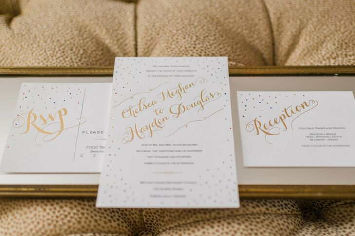 """""""We really wanted everything to reflect the whole celebration and party vibe that we wanted to feel on the wedding day,"""" Chelsea says. """"So for the stationery, we incorporated the bright jewel tones from the color palette by adding foil confetti around the edges."""""""