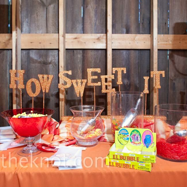 "The candy bar was decked out in the color scheme, and a ""How Sweet It Is"" sign added a whimsical feel."