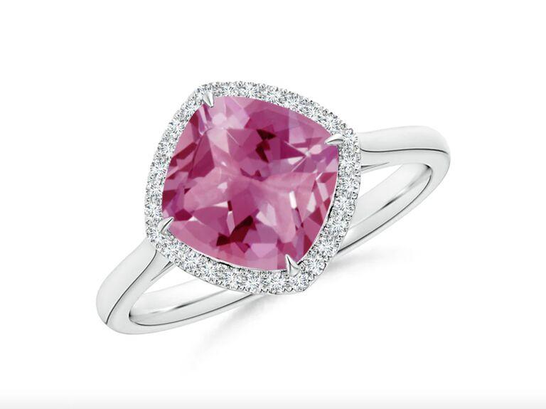Angara claw-set cushion-cut pink tourmaline halo ring in platinum