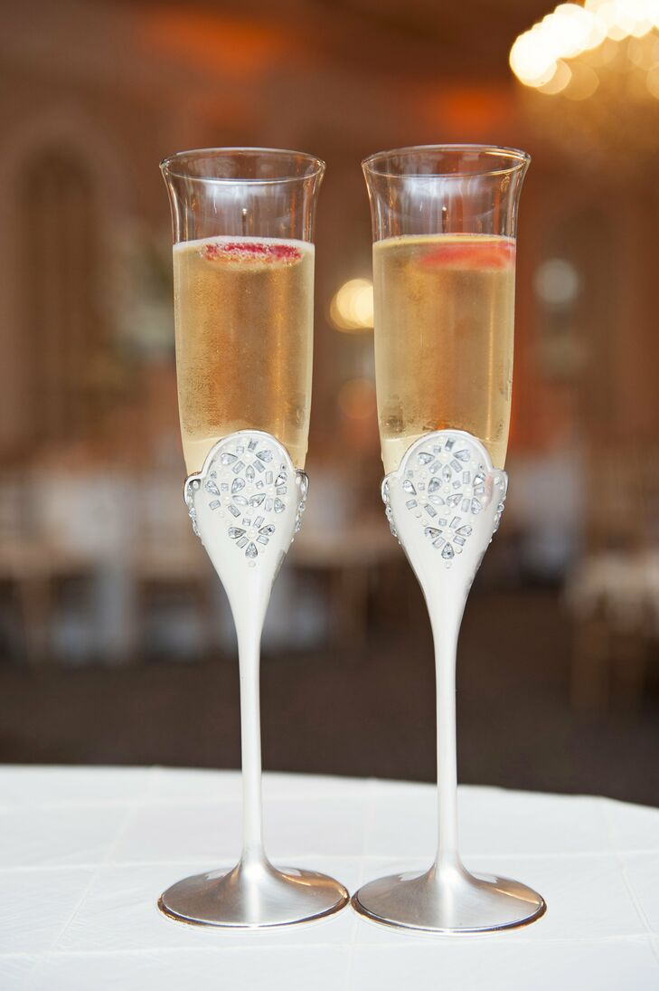 The couple drank champagne out of bedazzled flutes.