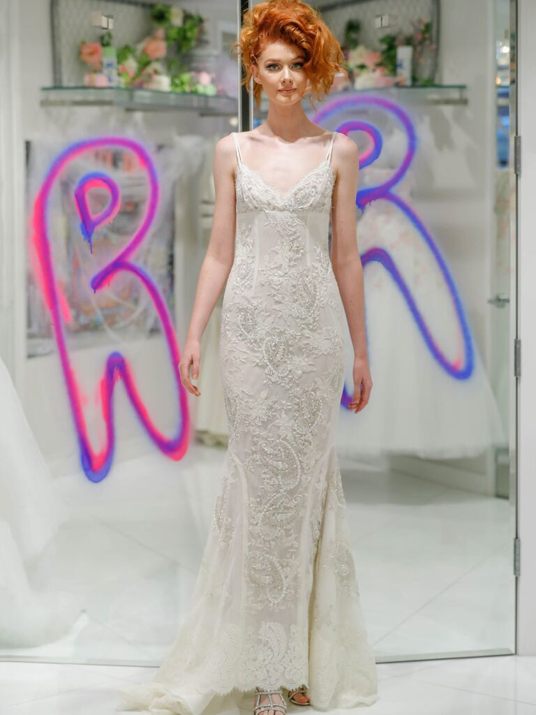 Randi Rahm Fall 2019 Bridal Fashion Week Collection lingerie-inspired fitted wedding dress with spaghetti straps