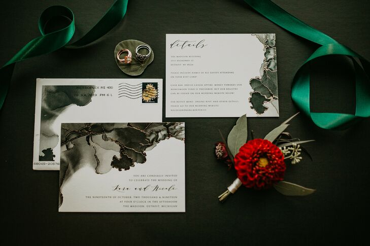 Wedding Invitations for Urban Rooftop Wedding in Detroit, Michigan