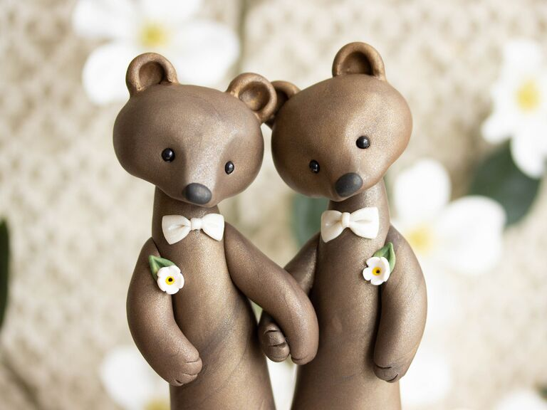 Bear grooms wedding cake topper