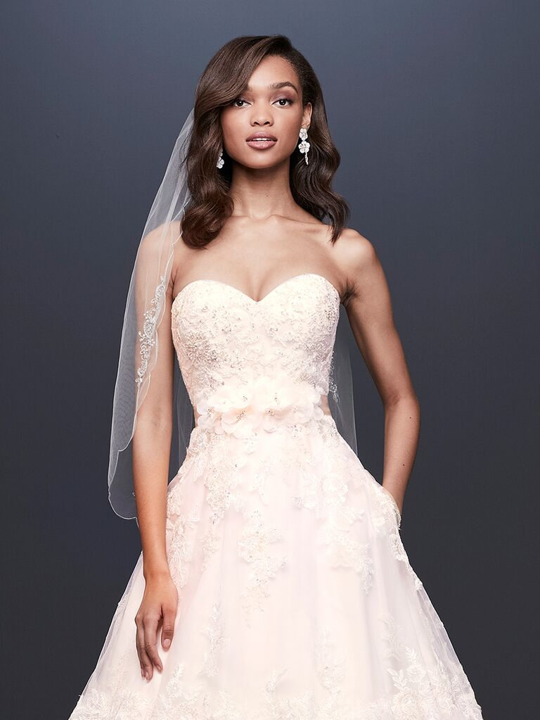 d74f59f1fa812 David's Bridal Spring 2019 lace embroidered wedding dress with a tulle  skirt and lace sweetheart neckline