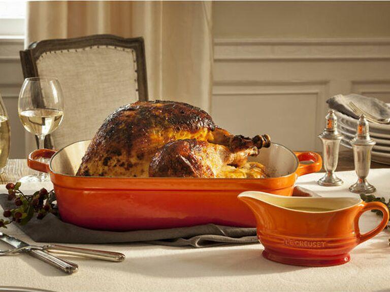 Ceramic gravy dish on holiday tablescape