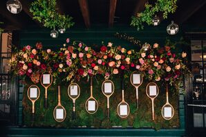 Decorations with Pink Roses and Tennis Racquets