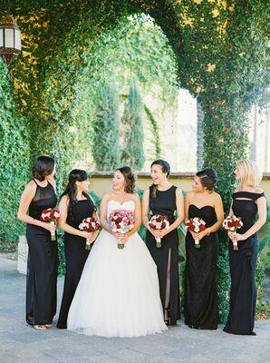 Full-Length Black Bridesmaid Dresses, Varying Styles