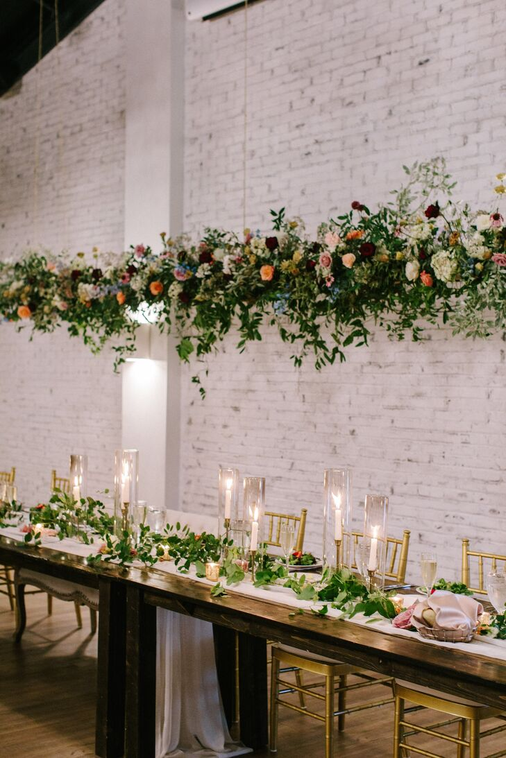 Suspended Head Table Floral Installation
