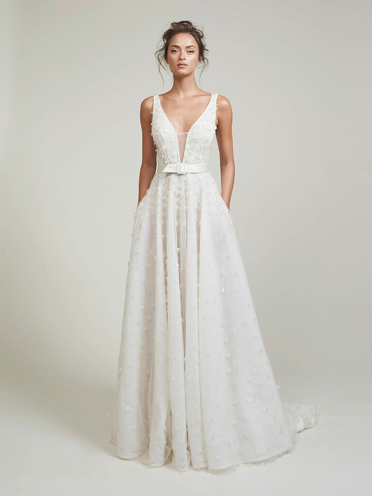 Lihi Hod wedding dress a-line dress with plunging neckline and belt at waist