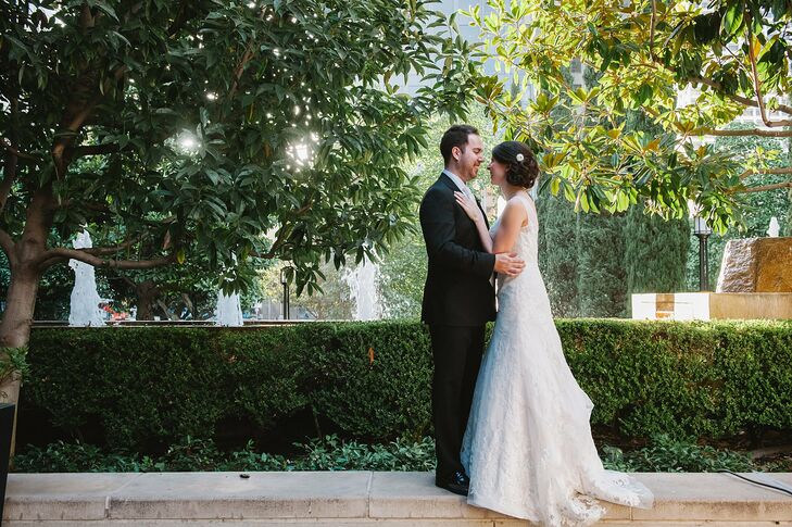 Adrienne and Cameron celebrated their wedding at Cafe Pinot in Los Angeles, CA in a modern space with unique floral arrangements and vintage accents t