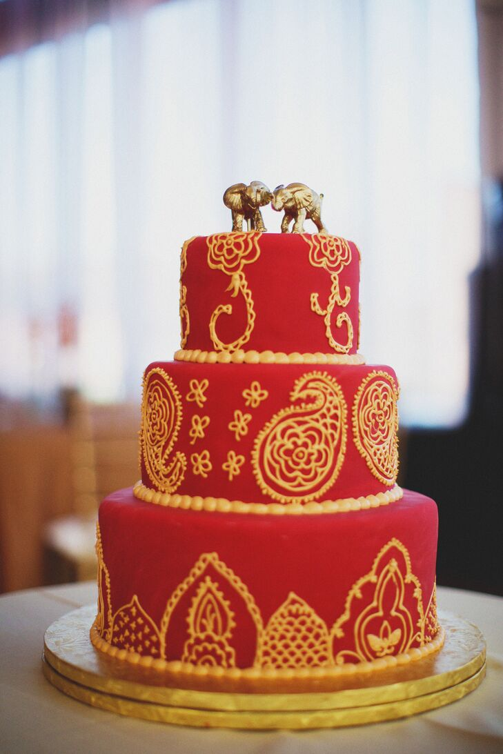 Red And Gold Fondant Wedding Cake