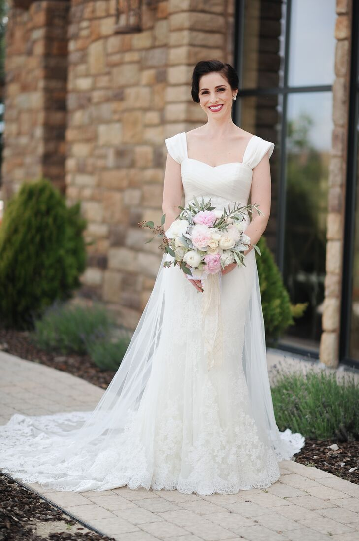 "For her wedding day, Courtney wanted a gown that exuded classic elegance. Pronovias offered just that in a fit-and-flare gown with a sweetheart neckline, cap sleeves and a lace-embellished overlay that was the picture of femininity. ""I always loved adding a pop of color with my shoes, and my favorite color is turquoise, so I found a simple pair of closed-toe pumps in a pale shade of that color,"" says Courtney. ""The best part is that I can wear them again!"""
