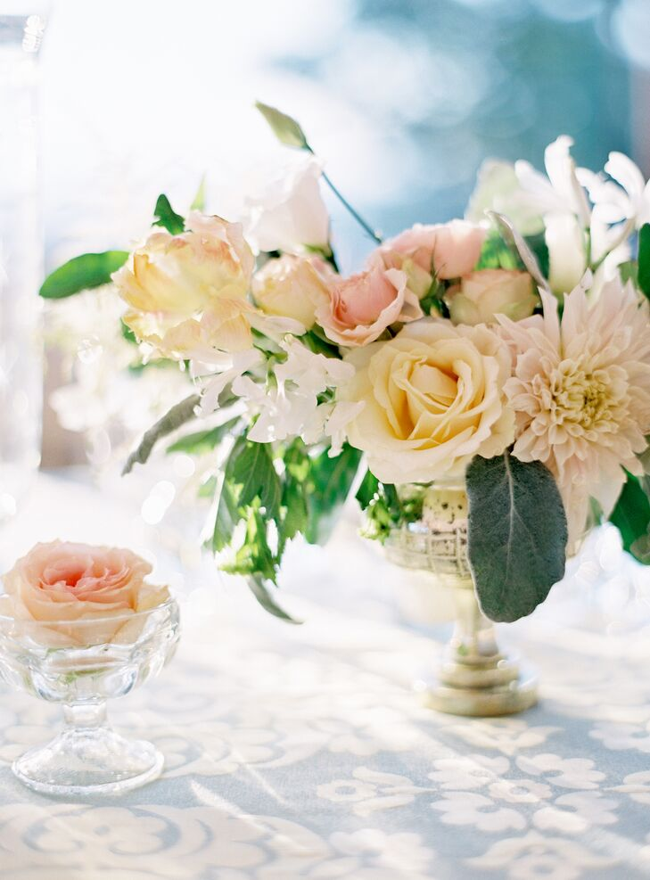 Blush Rose and Dahlia Floral Centerpiece