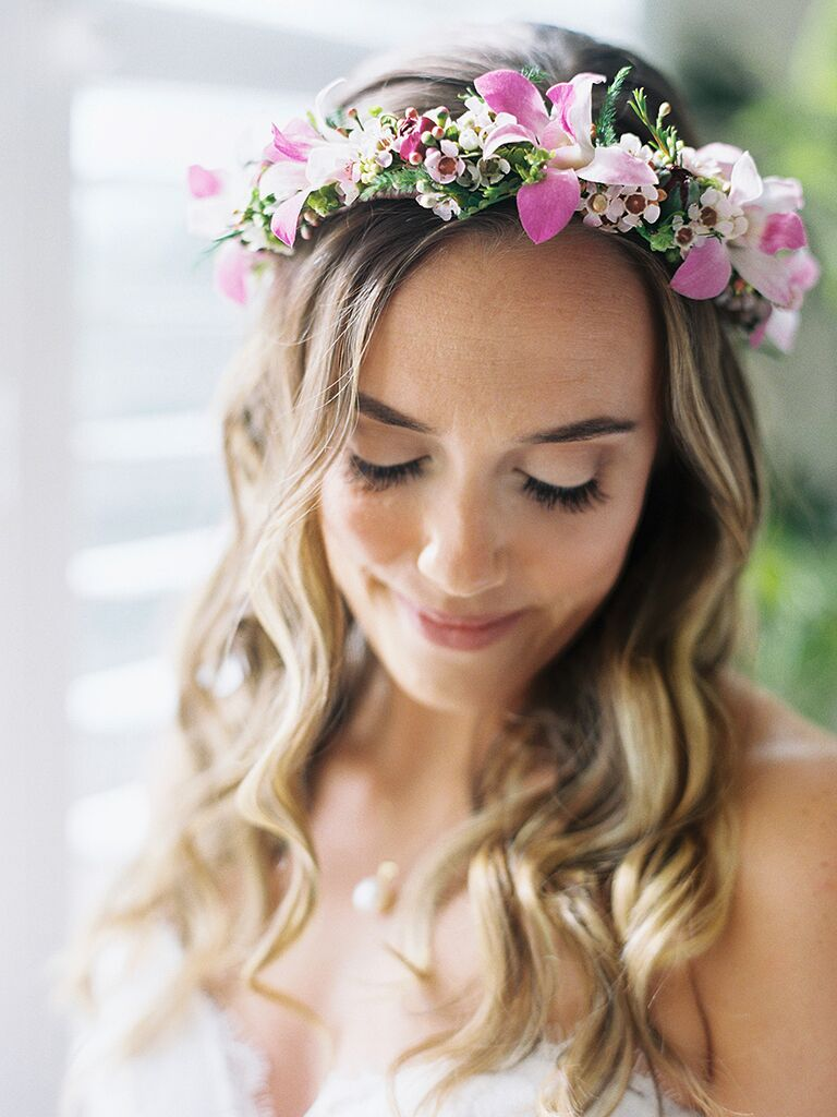 Wedding flower crown with pink wax flowers and orchids 3fe567a8b7a
