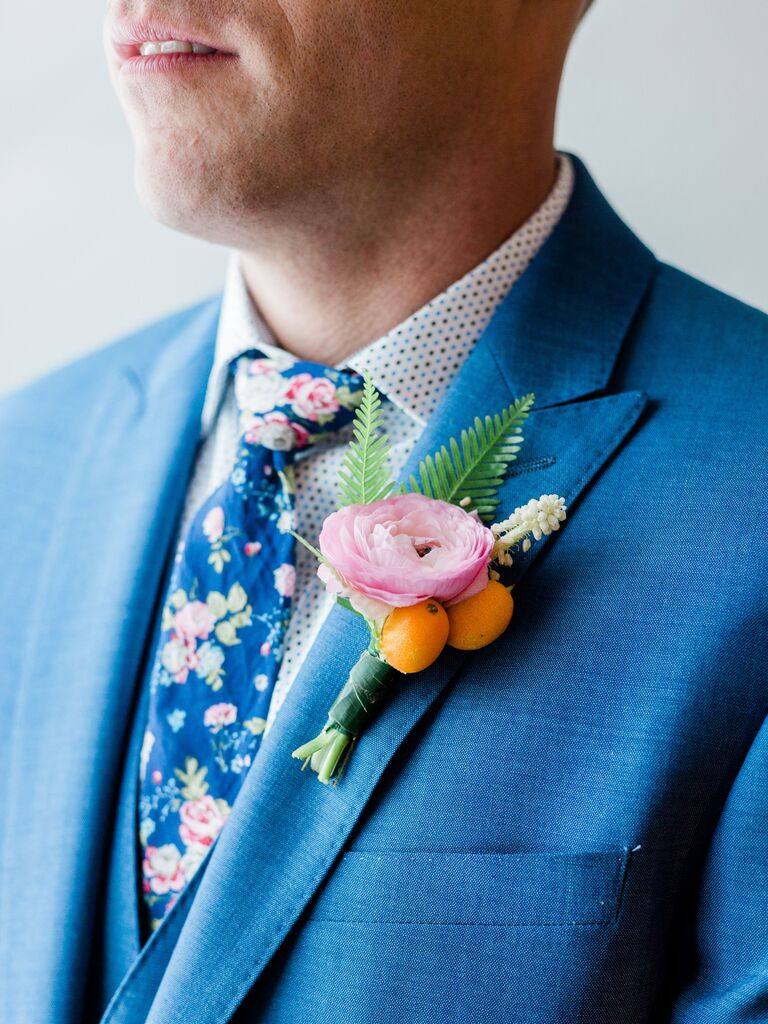 Pastel Wedding Boutonniere With Fruit