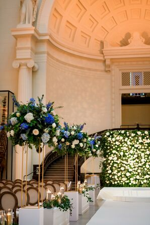 Tall Aisle Decorations with Blue Flowers at the Field Museum in Chicago, Illinois