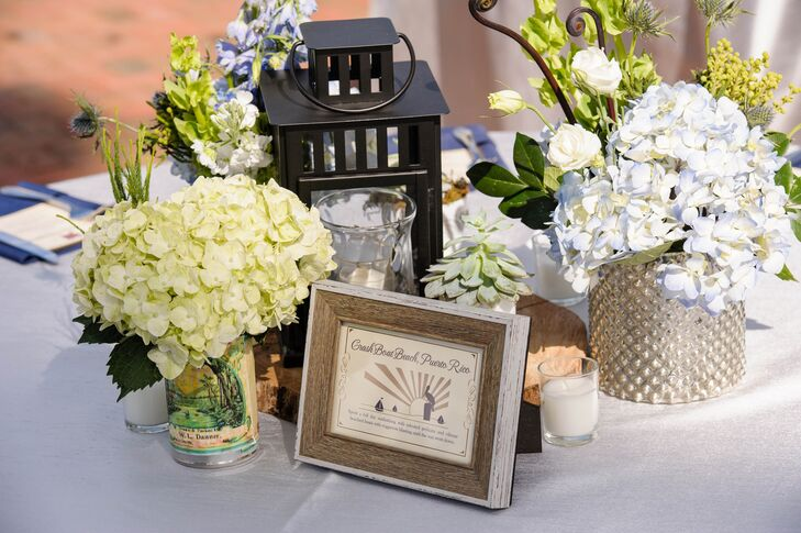White and Green Hydrangea Centerpieces