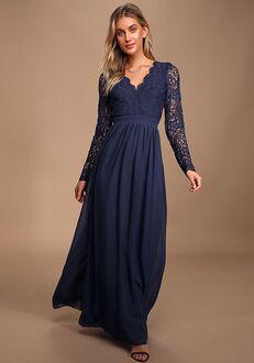 Lulus Awaken My Love Navy Blue Long Sleeve Lace Maxi Dress V-Neck Bridesmaid Dress