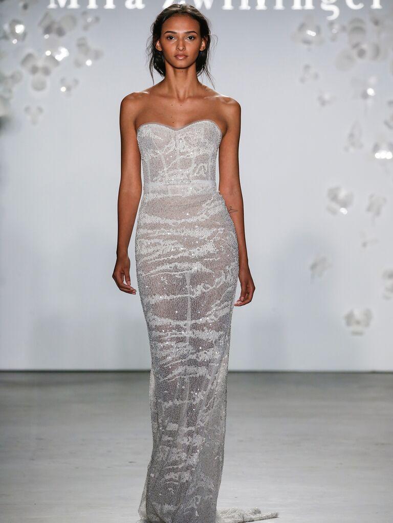 Mira Zwillinger Spring 2020 Bridal Collection strapless embellished column wedding dress