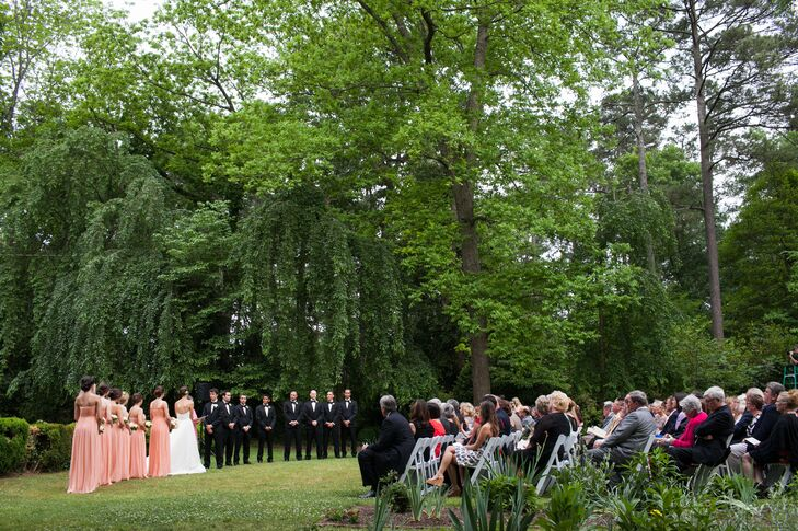 """Sarah and Ben exchanged vows at The Weymouth Center in Southern Pines, North Carolina. """"This lovely estate was built in the 1900s and is enclosed by grand woods, which set the scene perfectly."""""""