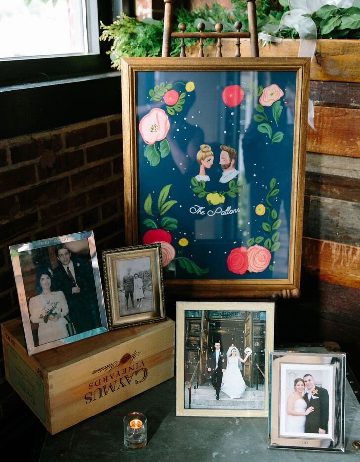 Whimsical Family Photo Display and Illustrated Sign