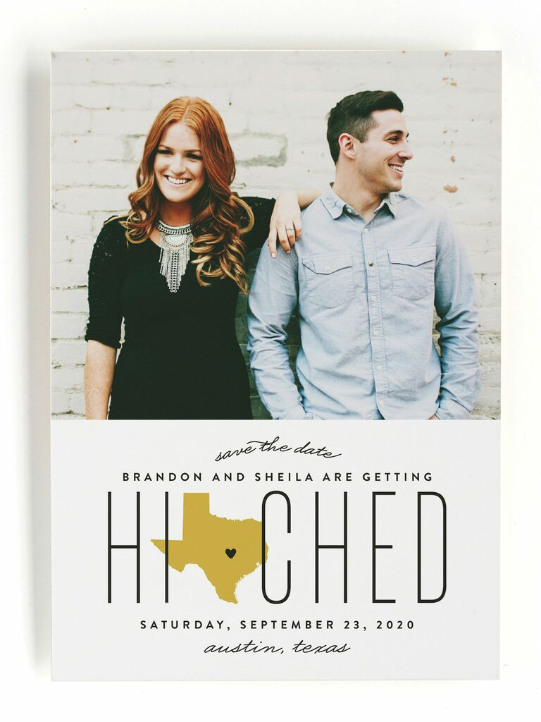 Minted hitched in Texas destination wedding save-the-date